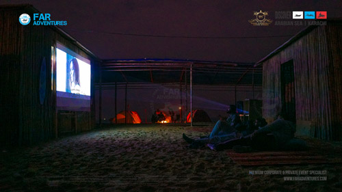 Movie Night at the Beach HD Projector Screen